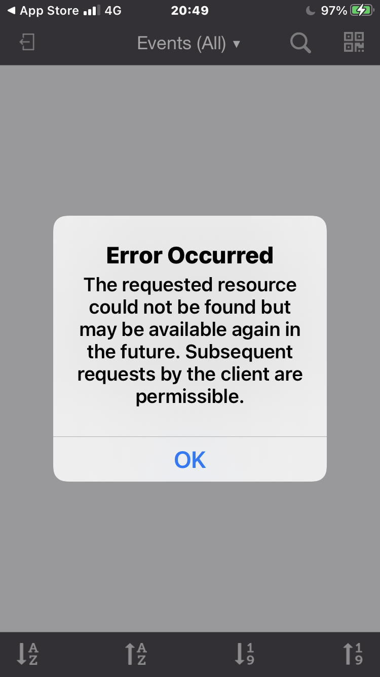 Error Message on iphone